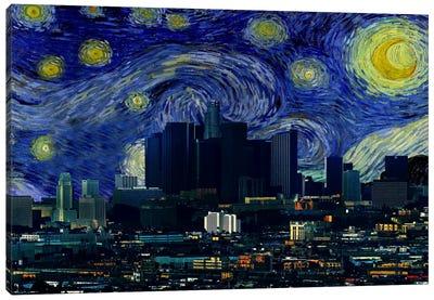 Los Angeles, California Starry Night Skyline Canvas Print #SKY110