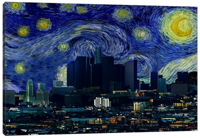 Los Angeles, California Starry Night Skyline Canvas Art Print