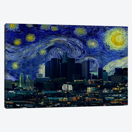 Los Angeles, California Starry Night Skyline Canvas Print #SKY110} by 5by5collective Canvas Artwork