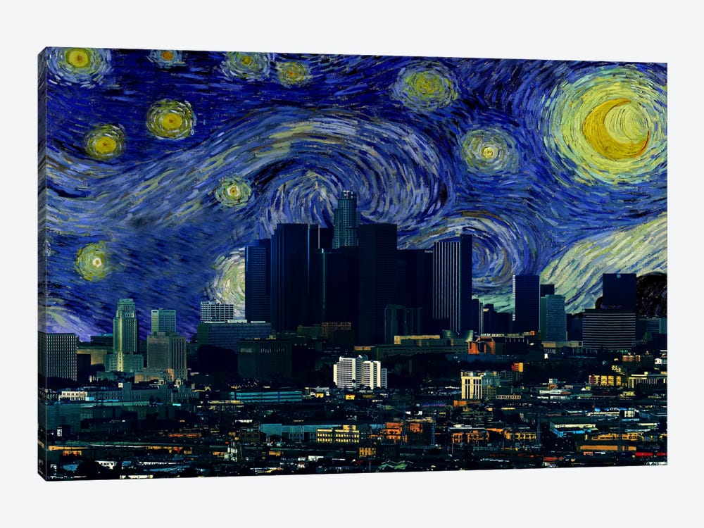 Los Angeles, California Starry Night Skyline by 5by5collective 1-piece Canvas Wall Art