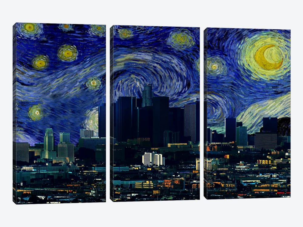 Los Angeles, California Starry Night Skyline by 5by5collective 3-piece Canvas Wall Art