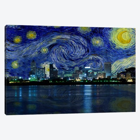 Memphis, Tennessee Starry Night Skyline Canvas Print #SKY111} by 5by5collective Canvas Art