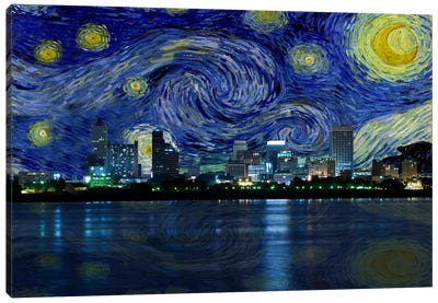 Memphis, Tennessee Starry Night Skyline Canvas Art Print
