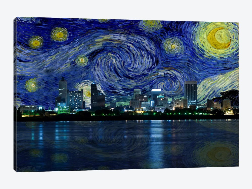 Memphis, Tennessee Starry Night Skyline by 5by5collective 1-piece Art Print