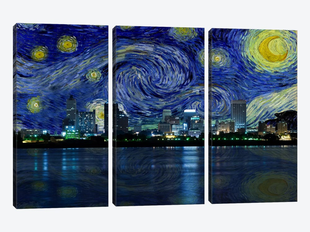 Memphis, Tennessee Starry Night Skyline by 5by5collective 3-piece Canvas Art Print