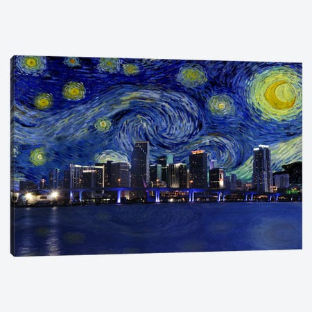 Miami, Florida Starry Night Skyline Canvas Print #SKY112} by iCanvas Canvas Wall Art