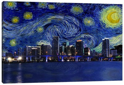 Miami, Florida Starry Night Skyline Canvas Art Print