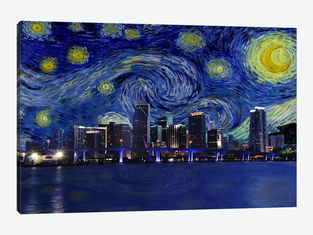 Miami, Florida Starry Night Skyline by iCanvas 1-piece Canvas Art