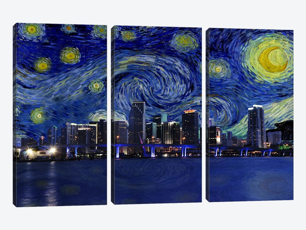 Miami, Florida Starry Night Skyline by iCanvas 3-piece Canvas Art
