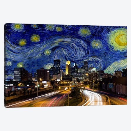 Minneapolis, Minnesota Starry Night Skyline Canvas Print #SKY113} by 5by5collective Canvas Wall Art