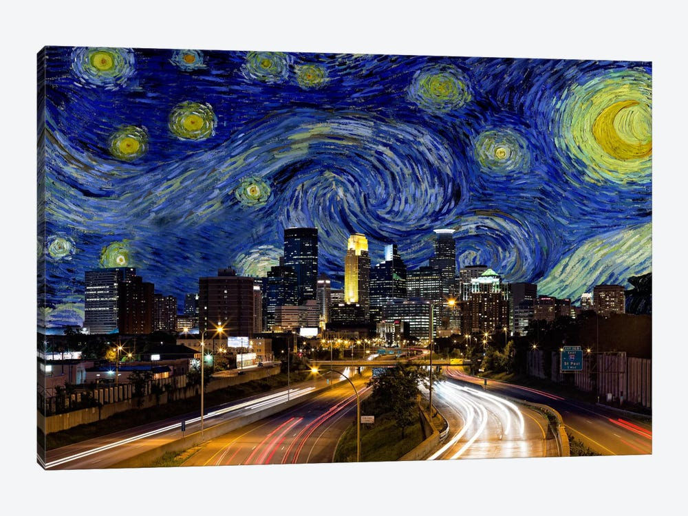 Minneapolis, Minnesota Starry Night Skyline by iCanvas 1-piece Canvas Print