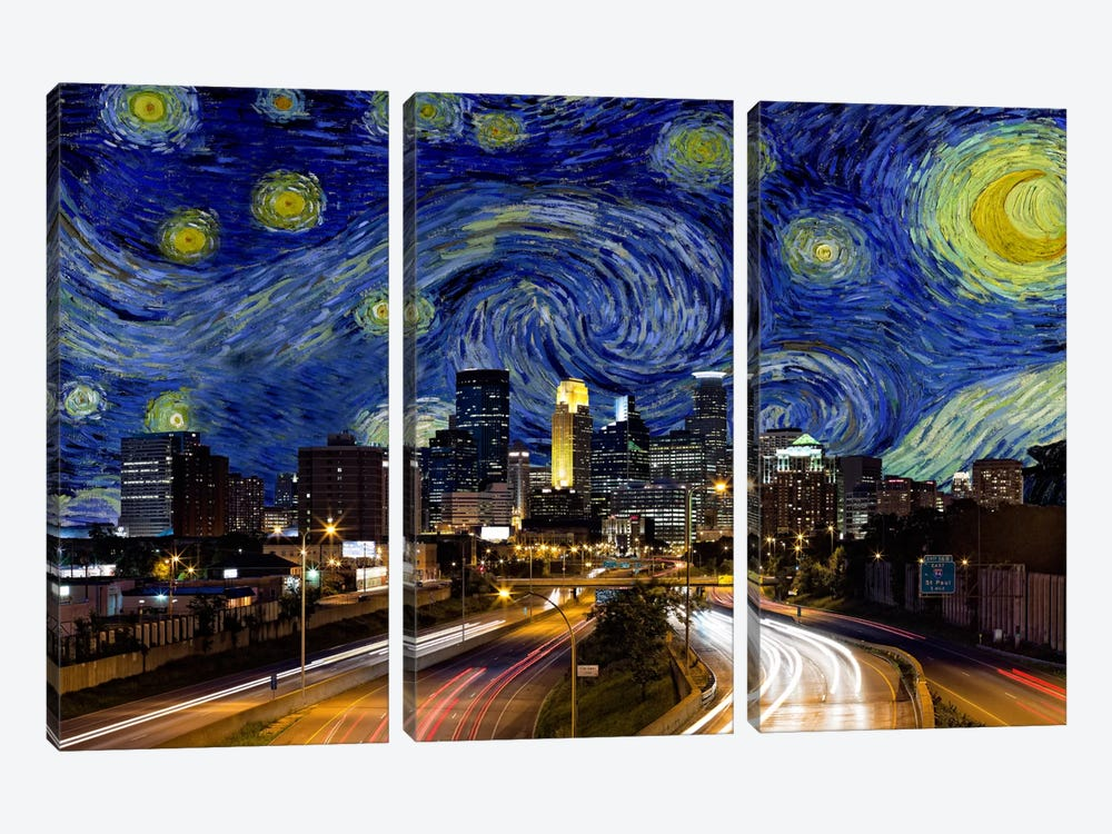Minneapolis, Minnesota Starry Night Skyline by iCanvas 3-piece Art Print