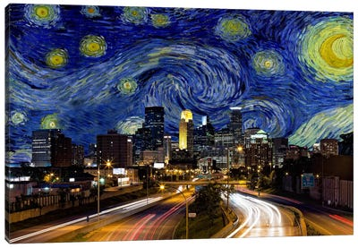 Minneapolis, Minnesota Starry Night Skyline Canvas Art Print