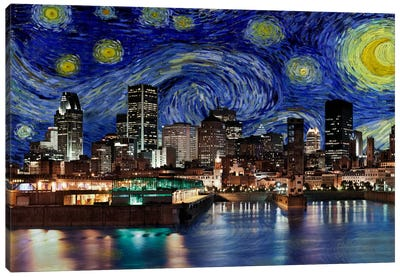 Montreal, Canada Starry Night Skyline Canvas Art Print