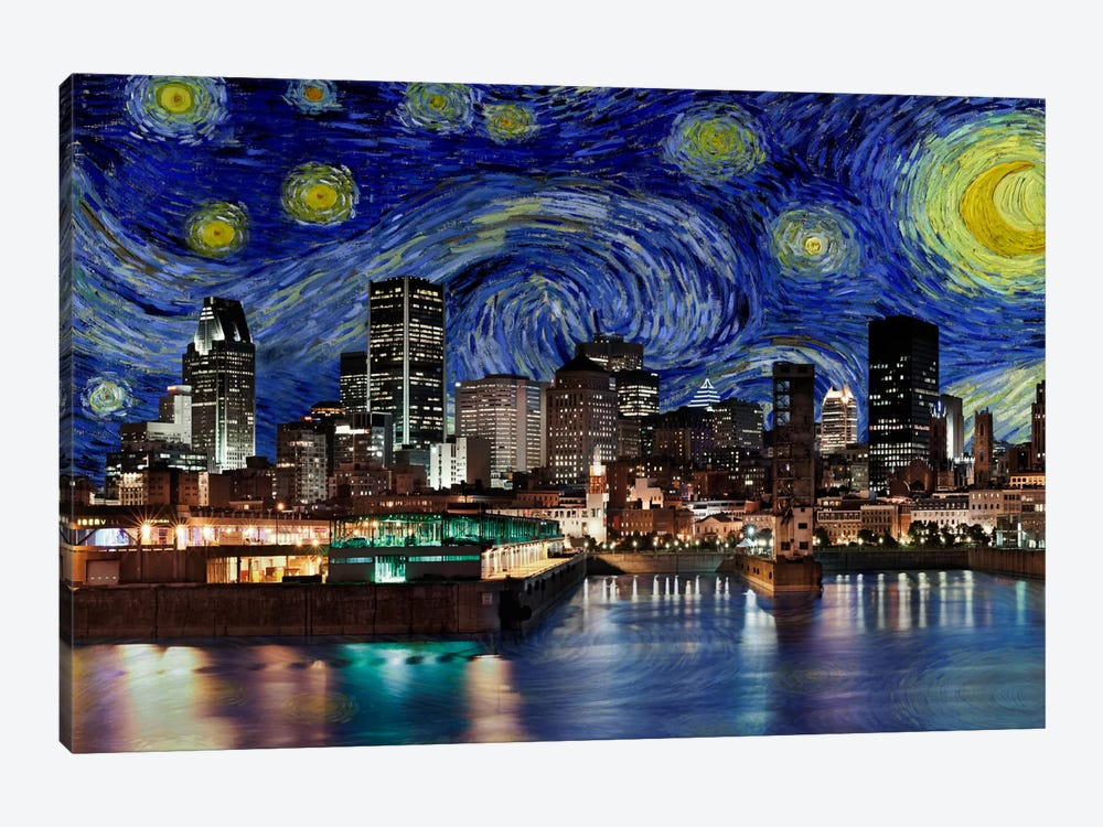 Montreal, Canada Starry Night Skyline by 5by5collective 1-piece Canvas Wall Art