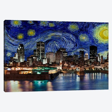 Montreal, Canada Starry Night Skyline Canvas Print #SKY114} by 5by5collective Canvas Art Print