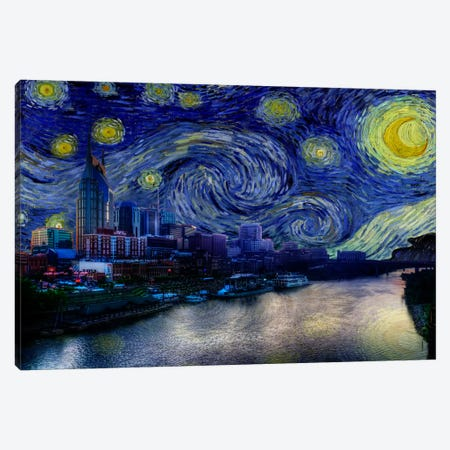 Nashville, Tennessee Starry Night Skyline Canvas Print #SKY115} by iCanvas Art Print