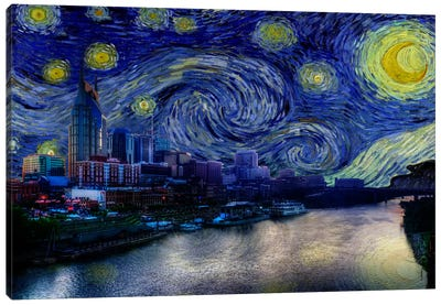 Nashville, Tennessee Starry Night Skyline Canvas Art Print