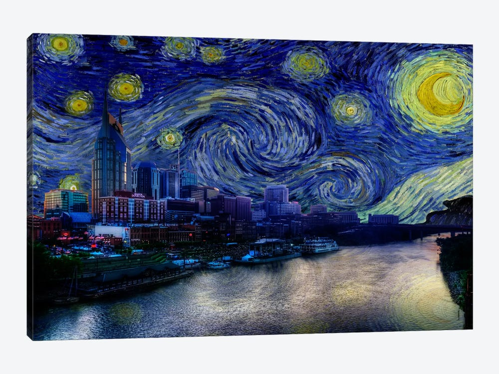 Nashville, Tennessee Starry Night Skyline by 5by5collective 1-piece Art Print