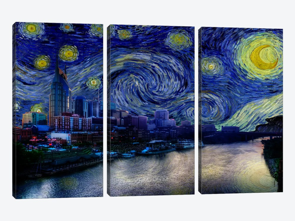Nashville, Tennessee Starry Night Skyline by 5by5collective 3-piece Art Print