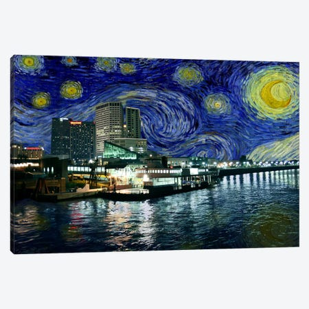 New Orleans, Louisiana Starry Night Skyline Canvas Print #SKY116} by 5by5collective Canvas Art Print