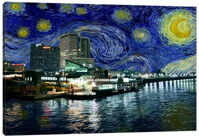 New Orleans, Louisiana Starry Night Skyline Canvas Art Print