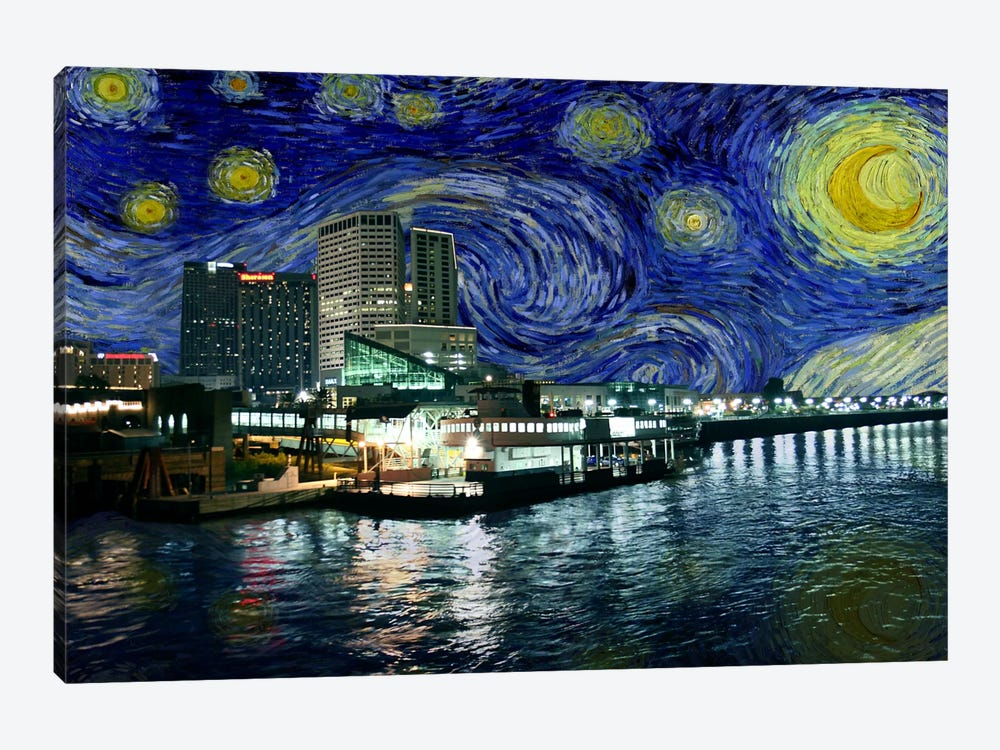 New Orleans Louisiana Starry Night Skyline By 5by5collective 1 Piece Canvas Artwork