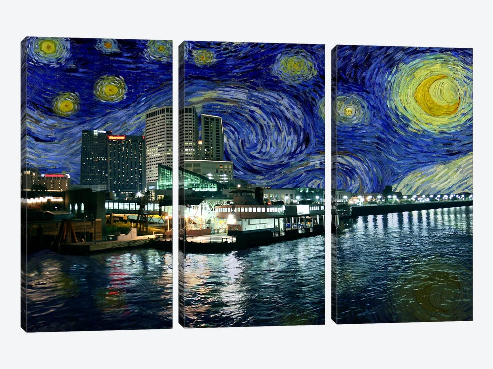New Orleans, Louisiana Starry Night Skyline by 5by5collective 3-piece Canvas Artwork