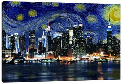 New York Starry Night Skyline Canvas Art Print