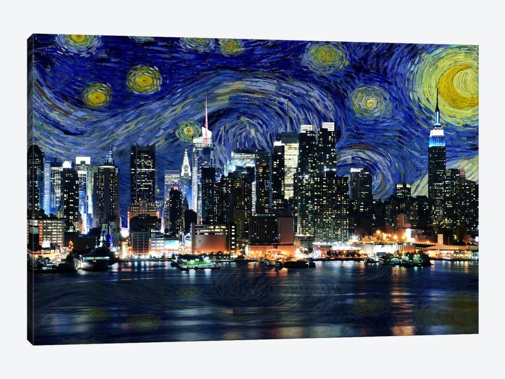 New York Starry Night Skyline by iCanvas 1-piece Canvas Art Print