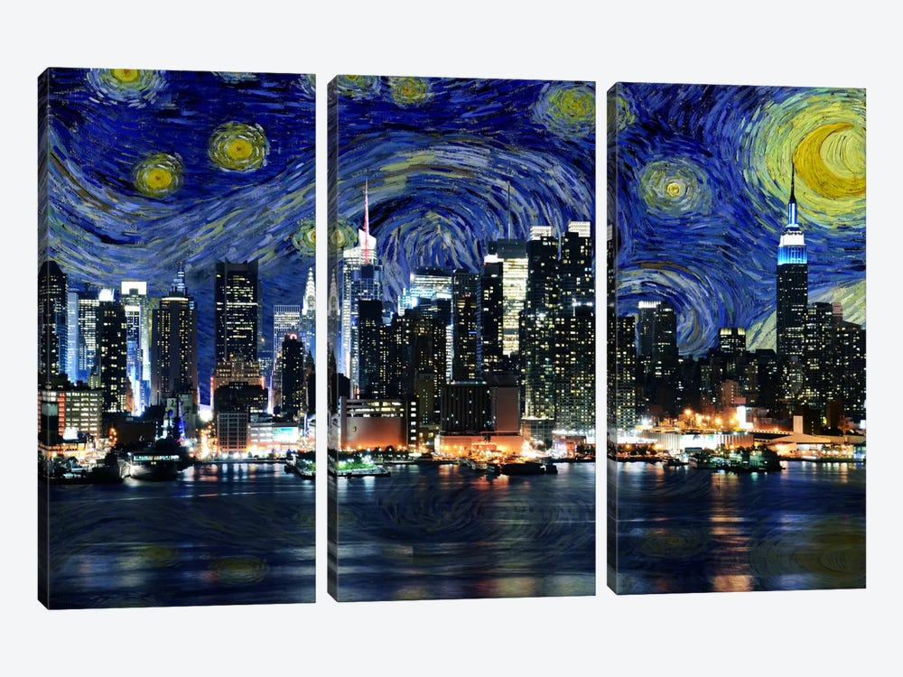 New York City, New York Starry Night Skyline by 5by5collective 3-piece Canvas Print