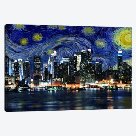 New York City, New York Starry Night Skyline 3-Piece Canvas #SKY117} by 5by5collective Art Print