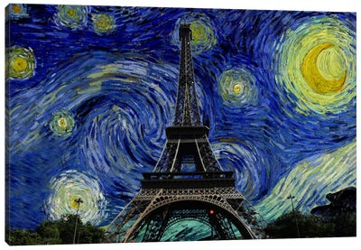 Paris, France Starry Night Skyline Canvas Print #SKY118