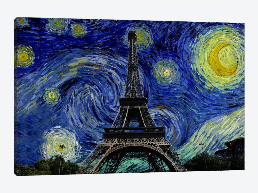 Paris, France Starry Night Skyline by iCanvas 1-piece Canvas Wall Art
