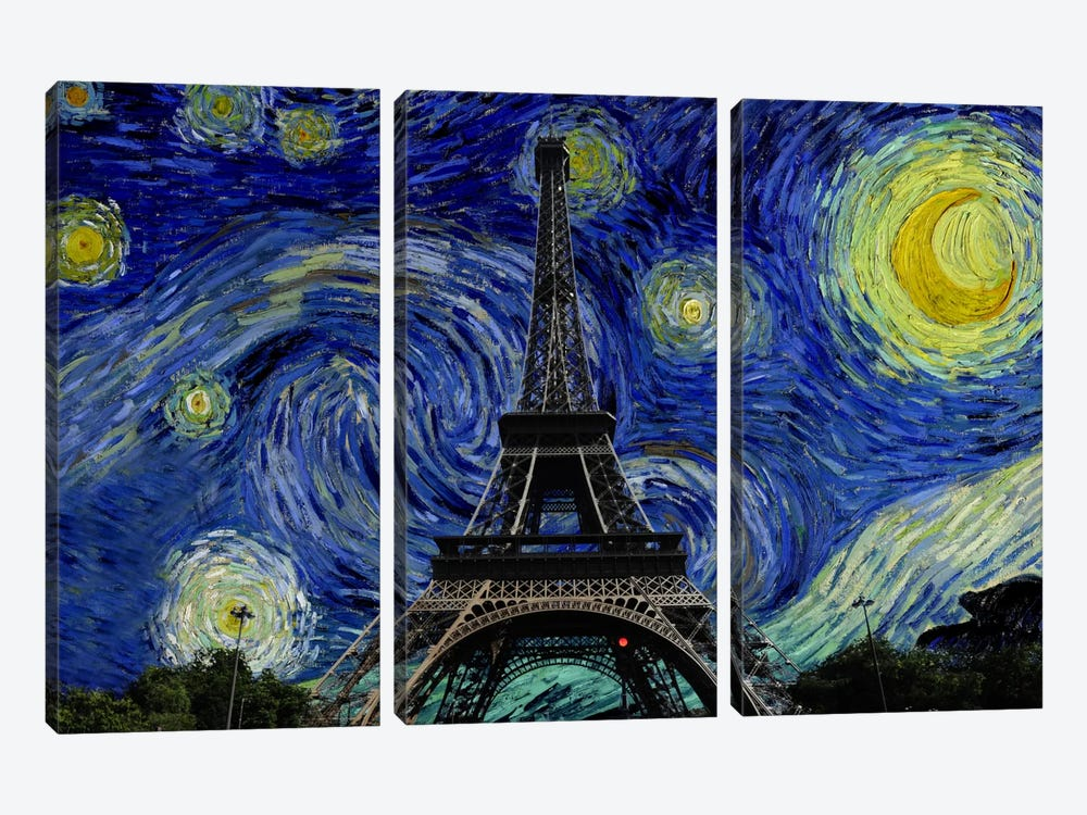 Paris, France Starry Night Skyline by iCanvas 3-piece Canvas Wall Art