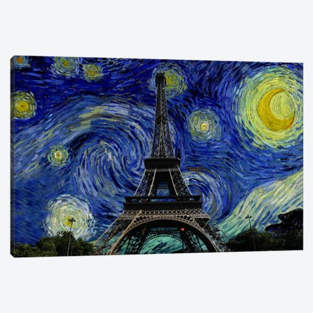 Paris, France Starry Night Skyline Canvas Print #SKY118} by 5by5collective Canvas Art