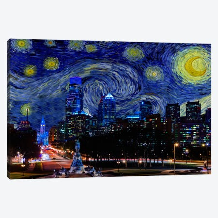 Philadelphia, Pennsylvania Starry Night Skyline Canvas Print #SKY119} by 5by5collective Canvas Wall Art