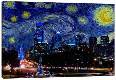 Philadelphia, Pennsylvania Starry Night Skyline Canvas Art Print