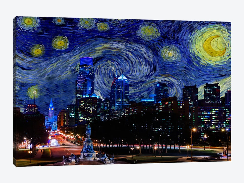 Philadelphia, Pennsylvania Starry Night Skyline by 5by5collective 1-piece Canvas Print
