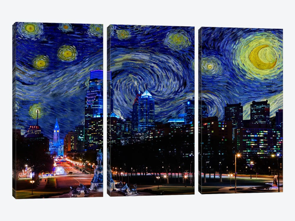 Philadelphia, Pennsylvania Starry Night Skyline by 5by5collective 3-piece Canvas Print