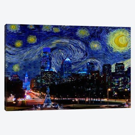 Philadelphia, Pennsylvania Starry Night Skyline Canvas Print #SKY119} by 5by5collective Canvas Wall Art