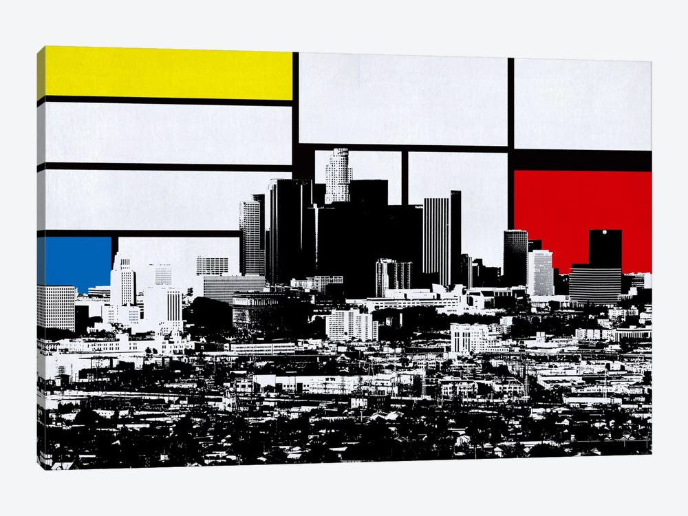 Los Angeles, California Skyline with Primary Colors Background by Unknown Artist 1-piece Canvas Art
