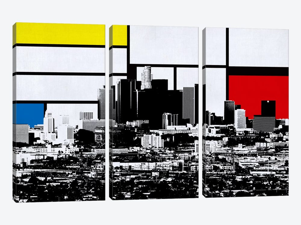 Los Angeles, California Skyline with Primary Colors Background by Unknown Artist 3-piece Canvas Wall Art