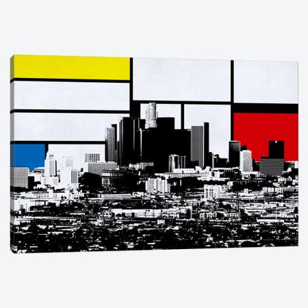 Los Angeles, California Skyline with Primary Colors Background 3-Piece Canvas #SKY11} by Unknown Artist Canvas Artwork