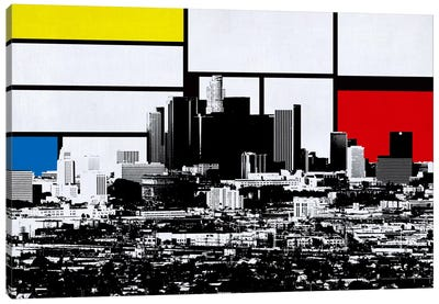 Los Angeles, California Skyline with Primary Colors Background Canvas Art Print
