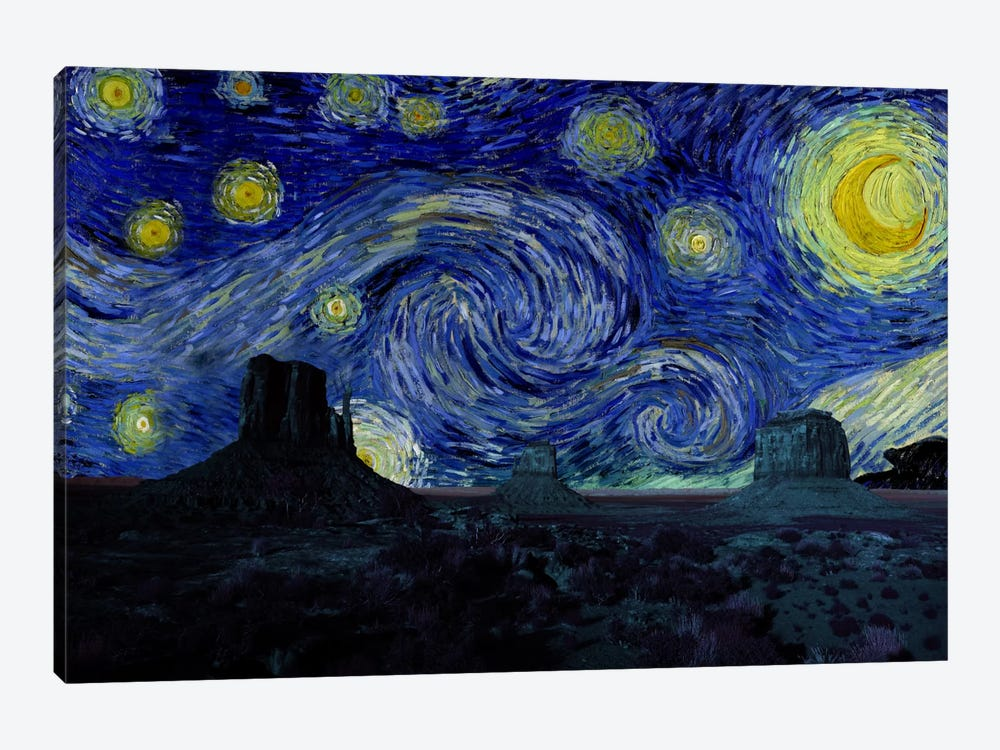 Phoenix, Arizona Mountain Starry Night Skyline by 5by5collective 1-piece Canvas Art Print