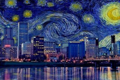 Portland Oregon Starry Night Skyline Art Print By
