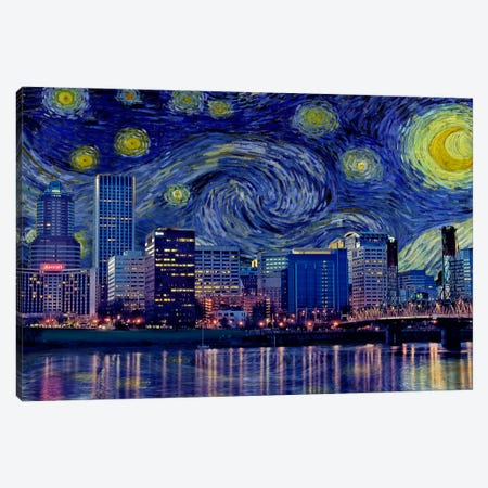 Portland, Oregon Starry Night Skyline Canvas Print #SKY121} by iCanvas Art Print