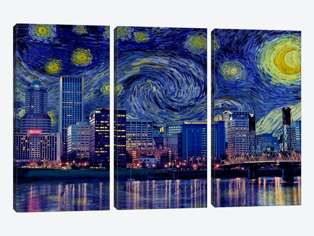 Portland, Oregon Starry Night Skyline by 5by5collective 3-piece Canvas Art