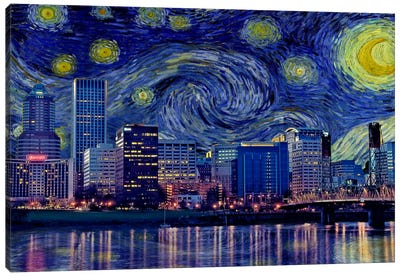 Portland, Oregon Starry Night Skyline Canvas Art Print